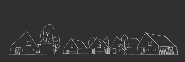 Fototapeta Suburban residential area, nice neighborhood house, real estate concept, 3D illustration obraz