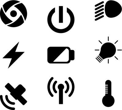 Icono lente. Icono encendido. Icono luces exploradoras. Icono energia. Icono bateria por la mitad. Icono bombillo prendido. Icono satelite. Icono señal. icono termometro