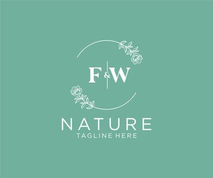 initial FW letters Botanical feminine logo template floral, editable premade monoline logo suitable, Luxury feminine wedding branding, corporate.