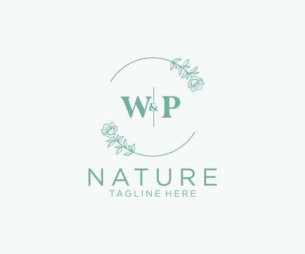 initial WP letters Botanical feminine logo template floral, editable premade monoline logo suitable, Luxury feminine wedding branding, corporate.