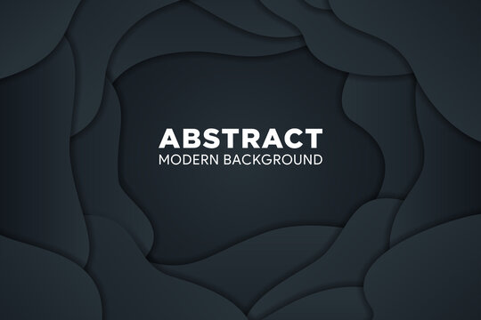 Black gradient vector background with abstract liquid style. Design geometrical black texture. Abstract 3d background with black paper cut layers. Horizontal layout.