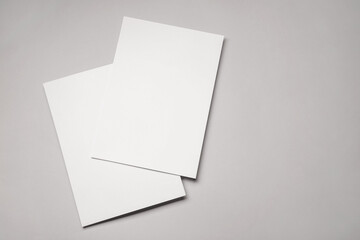 Fototapeta Blank sheets of paper on grey background