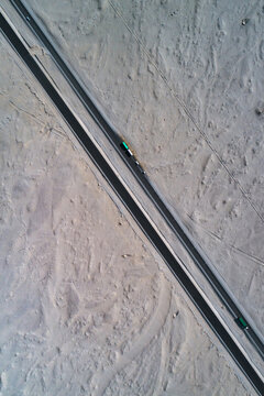 Aerial photography of the highway on the Gobi in Xinjiang, China