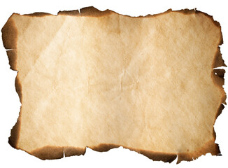 old paper or map with burnt edges isolated