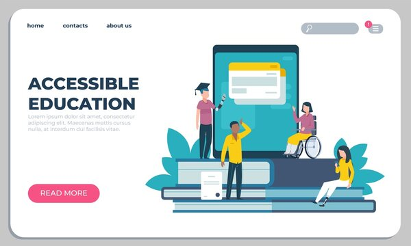 Accessible education landing page. Online learning for disabled people. Website design. Interface template with buttons. Studying assistance for handicapped persons. Vector UI mockup