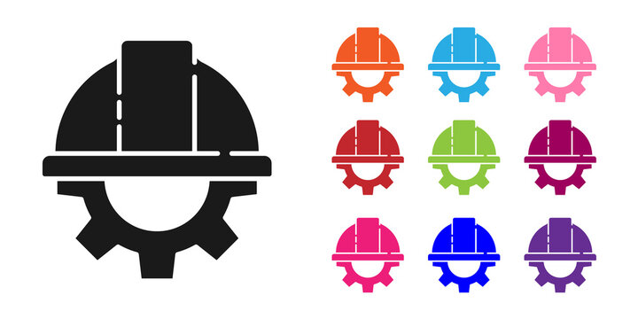 Black Worker safety helmet and gear icon isolated on white background. Set icons colorful. Vector Illustration
