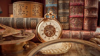 Fototapeta Vintage pocket watch. Vintage background Concept of time history.