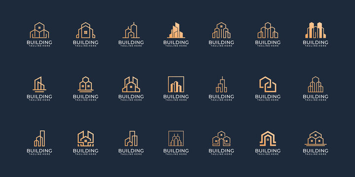Set of modern real estate building logo design vector collection concept