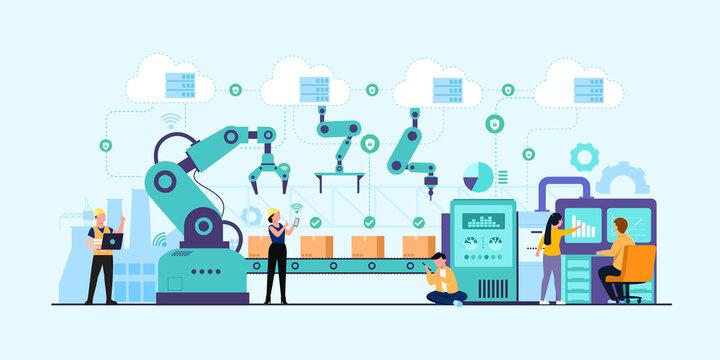 Industry 4.0 factory works robotic arm. Smart industrial revolution