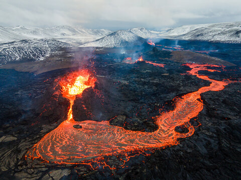 lava eruption volcano aerial view drone view from Iceland of Hot lava and magma coming out of the crater, April 2021