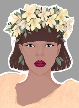 blonde woman in a wreath of blue flowers.  flat modern illustration. for poster, magazine cover, book, postcard.