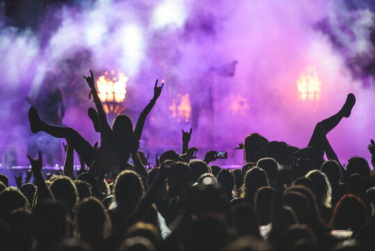 Silhouette of a crowd on a rock concert