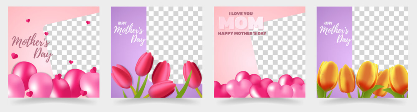 Mother's day templates set. Mother's day instagram post templates with png cutout.