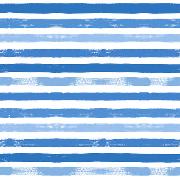 Stripes pattern, sea blue striped seamless vector background, navy brush strokes. pastel grunge stripes, watercolor paintbrush line