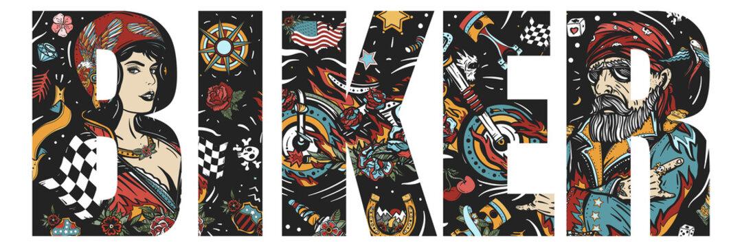 Biker slogan. Double exposure lettering. Bearded man, burning motorcycle, rider sport woman. Pin up girl, spark plug, moto bike. Typography art. Tattoo style. Vector graphics