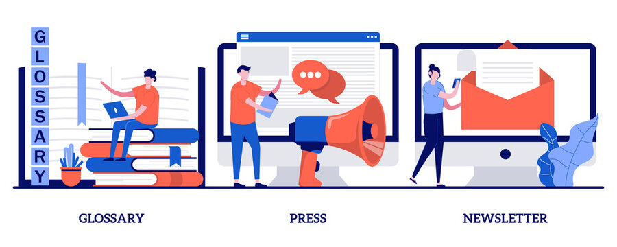 Glossary and newsletter, press web page concept with tiny people. Company latest news vector illustration set. Menu bar, terms and dictionary, about us, landing page, get updates, promotion metaphor