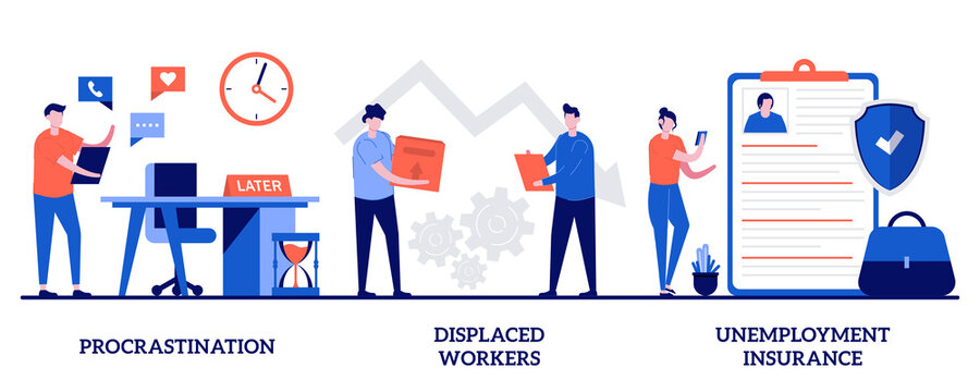 Procrastination, displaced workers, unemployment insurance concept with tiny people. Business termination vector illustration set. Professional burnout, lost job position, claim form metaphor