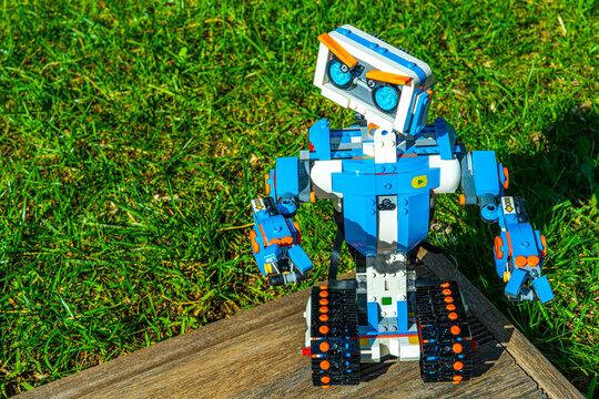 Nice, France 16 October 2020. Robotics. The Lego Boost robot car
