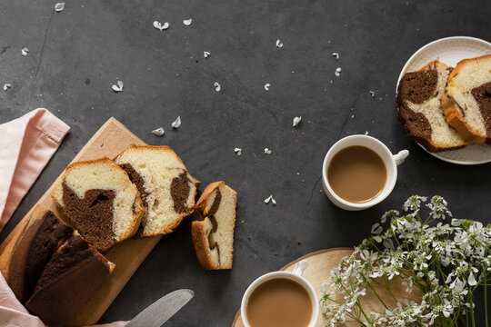 Delicious homemade marble pound cake and milk coffee