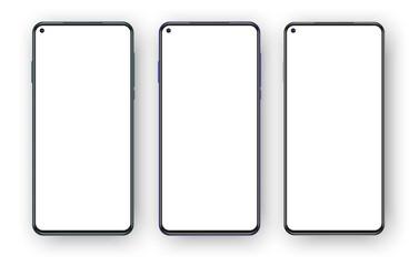 Fototapeta Set of three frameless phones mockup isolated on white background. Left placed selfie camera on the blank screen