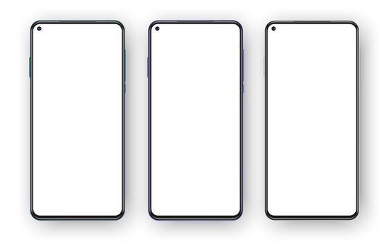 Set of three frameless phones mockup isolated on white background. Left placed selfie camera on the blank screen