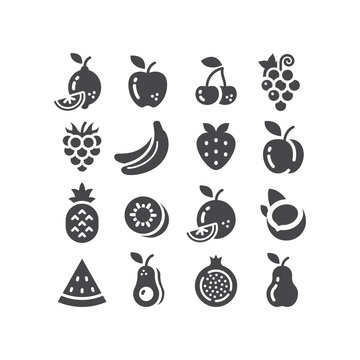 Fruits black vector icon set. Apple, lemon, banana, fruit symbols.