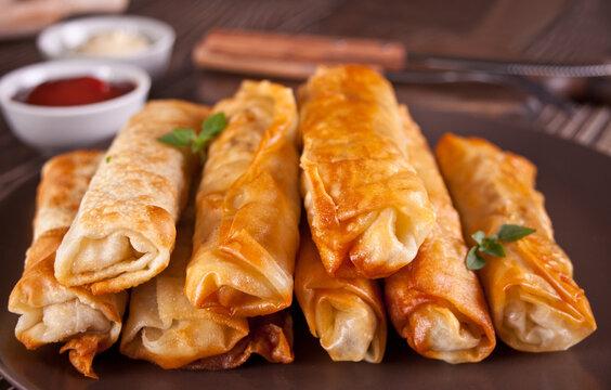 Sigara burek turkish crispy fried pastry rolls filo phyllo dough