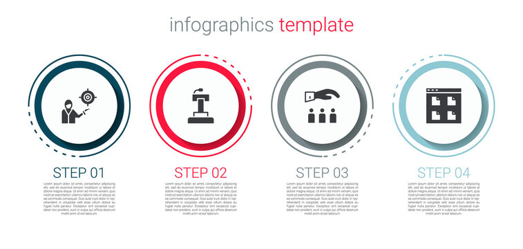 Set Marketing target strategy, Stage stand or tribune, Boss with employee and Browser files. Business infographic template. Vector