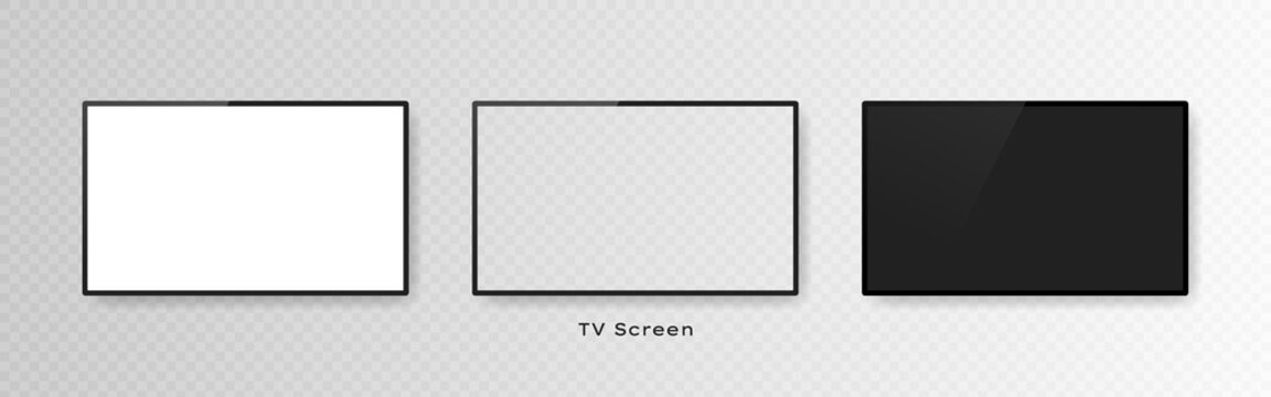Set of three realistic television screens isolated on transparent background. 3d blank TV led monitor. Vector illustration