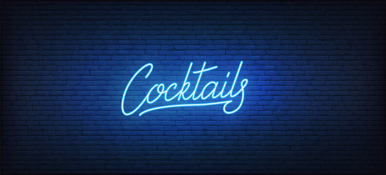 Cocktails neon sign. Glowing neon lettering Cocktail template
