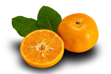 Fototapete - High angle view of mandarin orange or Citrus reticulata a whole and a half with leaves on white background with clipping path.