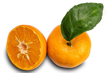 Fototapete - Top view of mandarin orange or Citrus reticulata a whole and a half with leaf on white background with clipping path.
