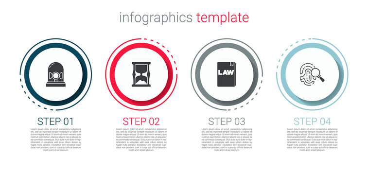 Set Flasher siren, Old hourglass, Law book and Fingerprint. Business infographic template. Vector