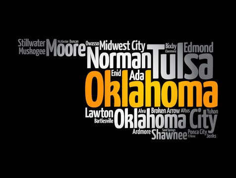 List of cities in Oklahoma USA state, map silhouette word cloud map concept background