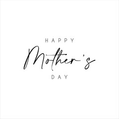 Fototapeta Happy Mother's Day text with flowers isolated on background. Hand drawn lettering as Mother's day logo, badge, icon. Template for Happy Mother's day, invitation, greeting card, postcard.
