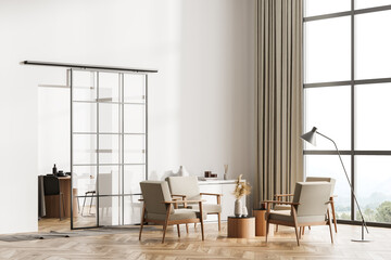 White living room interior with armchairs, window and parquet floor