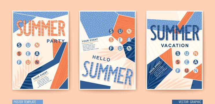 Set of modern Summer posters. Seasonal holiday, vacation, party and fun. Vector banners