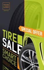Tire. Sale brochure. Tire car advertisement banner. Information. Store. Action. Landscape poster.