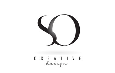 Fototapeta SO s o letter design logo logotype concept with serif font and elegant style vector illustration. obraz