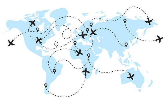 World map with flight routes airplanes. Infographic