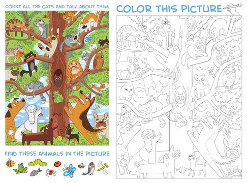 Funny cats sit on a high tree. Count all the cats and talk about them. Find Hidden Items