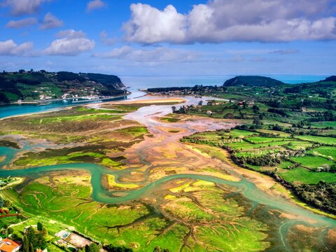 Aerial view of estuary in Villaviciosa, Asturias.