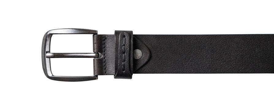 Elegant black male leather belt isolated on white.