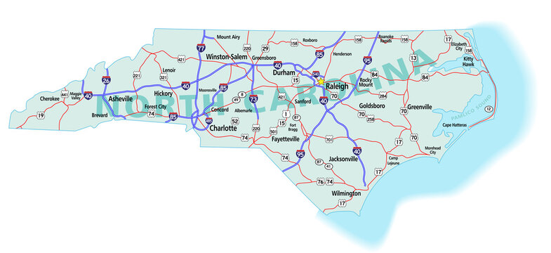 Vector map of the state of North Carolina and its Interstate System.