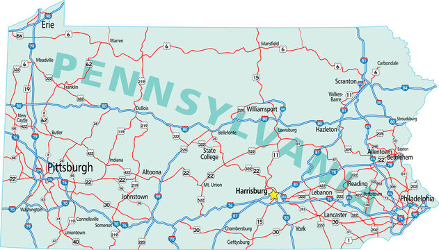 Vector map of the state of Pennsylvania and its Interstate System.