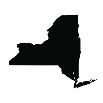 New York Map Black | State Border | United States | US America