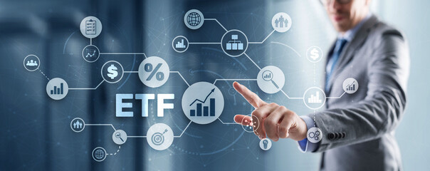 Fototapeta Exchange Traded Fund. Investor concept. ETF. Stock market index fund