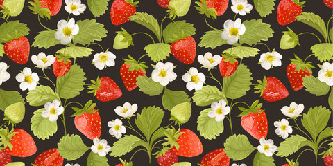 Strawberry Background with flowers, wild berries, leaves. Vector seamless texture illustration for summer cover