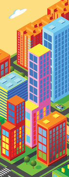 Isometric city vector.Smart town with road , trees,smart city and public park,building 3d,capital , Vector office and metropolis concept. Trending image.  Night city. Neon glow.