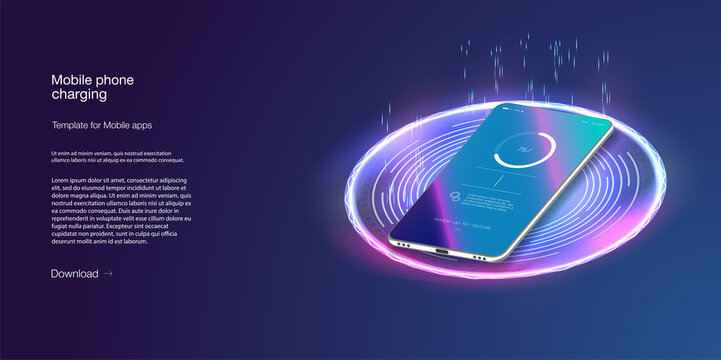 Futuristic phone is charged wirelessly on a blue background. Wireless charging. Wireless charging of the smartphone battery. Future concept. The progress of charging the battery of the phone.